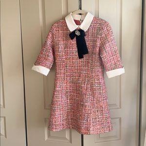 Chicwish Diamond Bowknot Tweed Dress